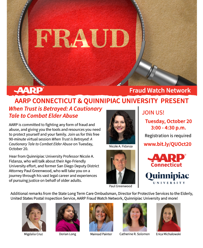 AARP  CT & Quinnipiac University Virtual Workshop Flyer